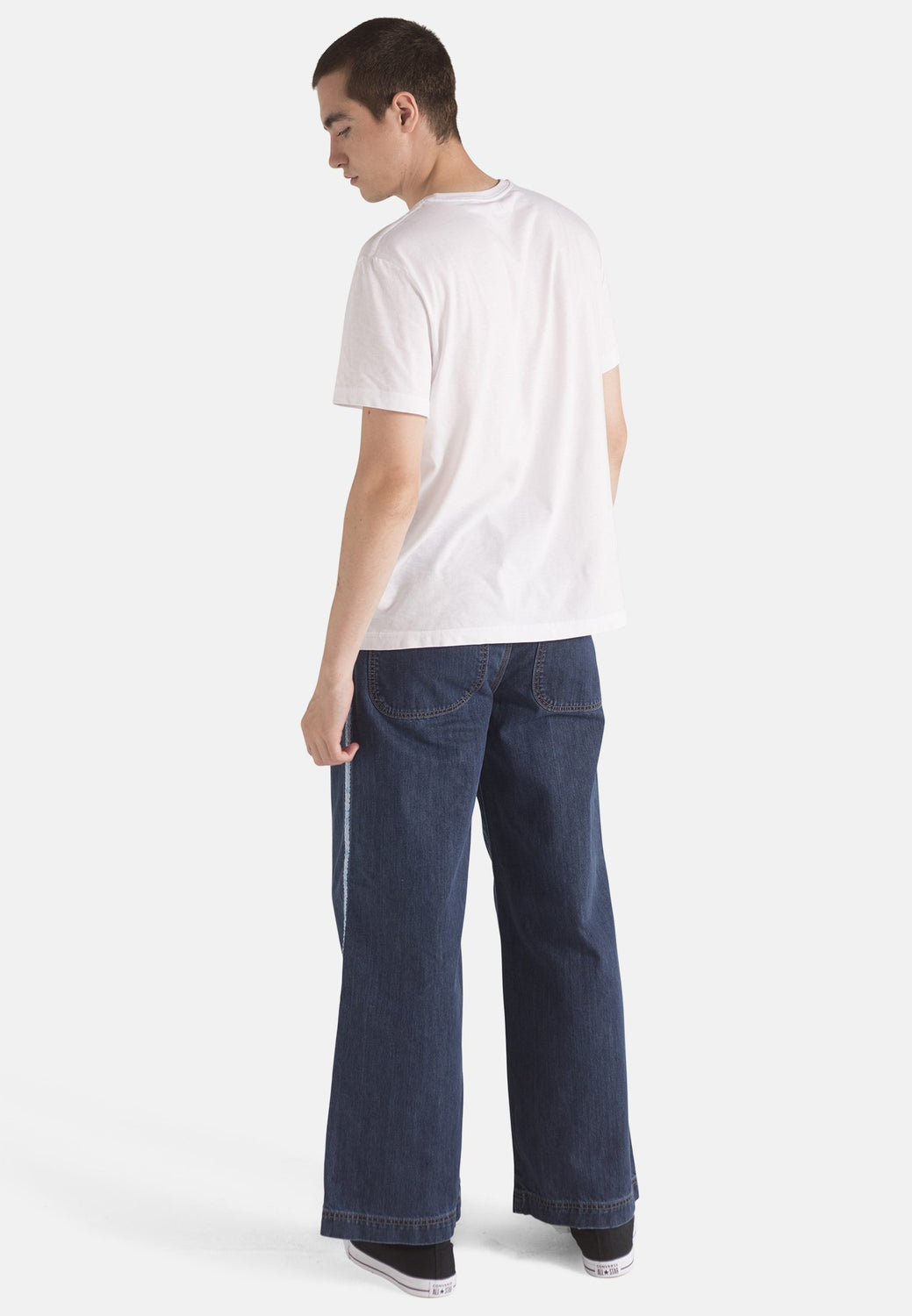 WIDE LEG // Organic Wide Leg Jeans in Dark Wash with Tape - Monkee Genes Organic Jeans Denim - Men's Wide Jeans Monkee Genes Official  Monkee Genes Official