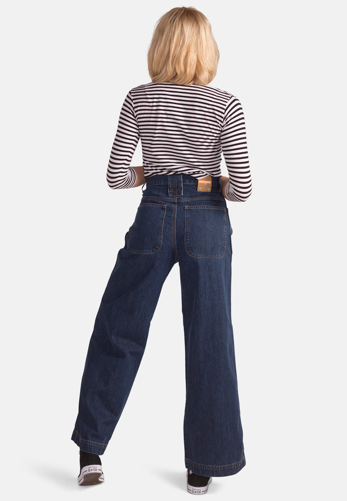 WIDE LEG // Organic Wide Leg Jeans in Dark Wash - Monkee Genes Organic Jeans Denim - Women's Wide Fit Monkee Genes Official  Monkee Genes Official
