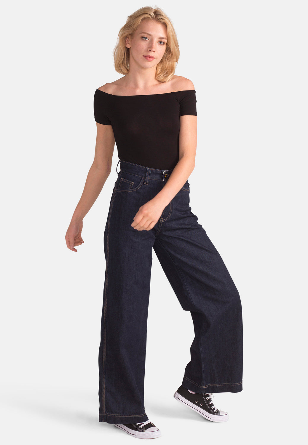 Wide Fit Jeans in Organic Rinse Wash Denim - Monkee Genes Organic Jeans Denim - Women's Wide Fit Monkee Genes Official  Monkee Genes Official