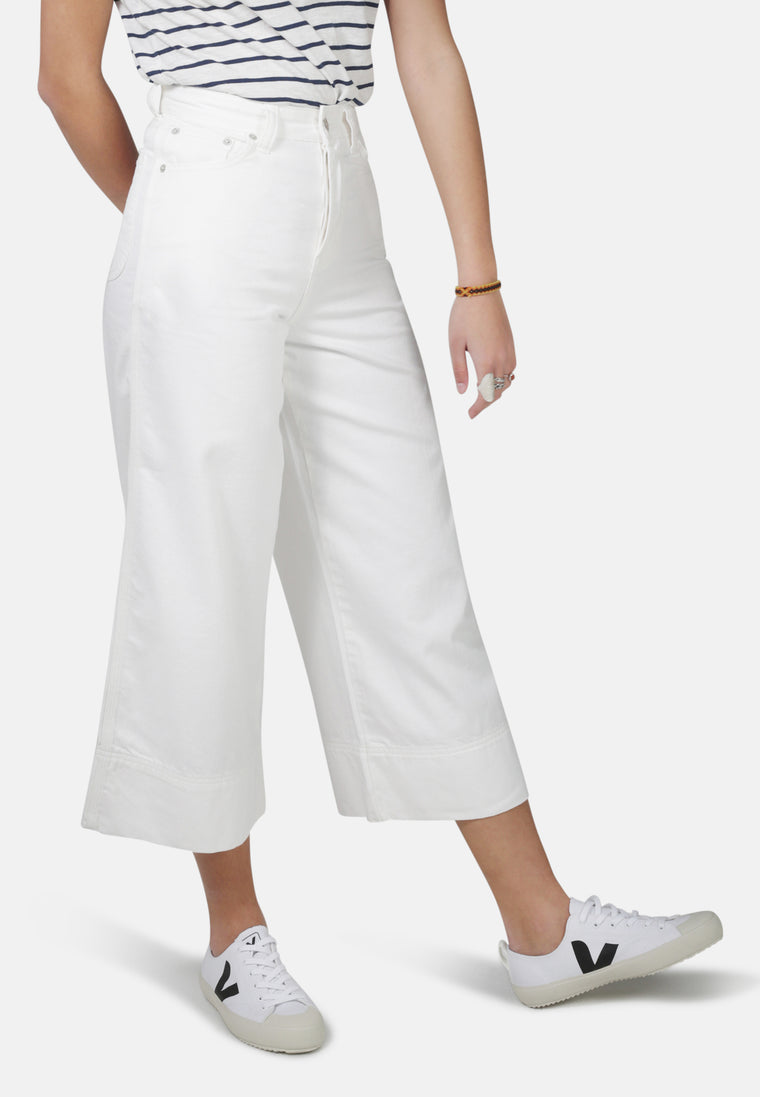 WIDE LEG // Organic Cropped Wide Leg Jeans in White Denim