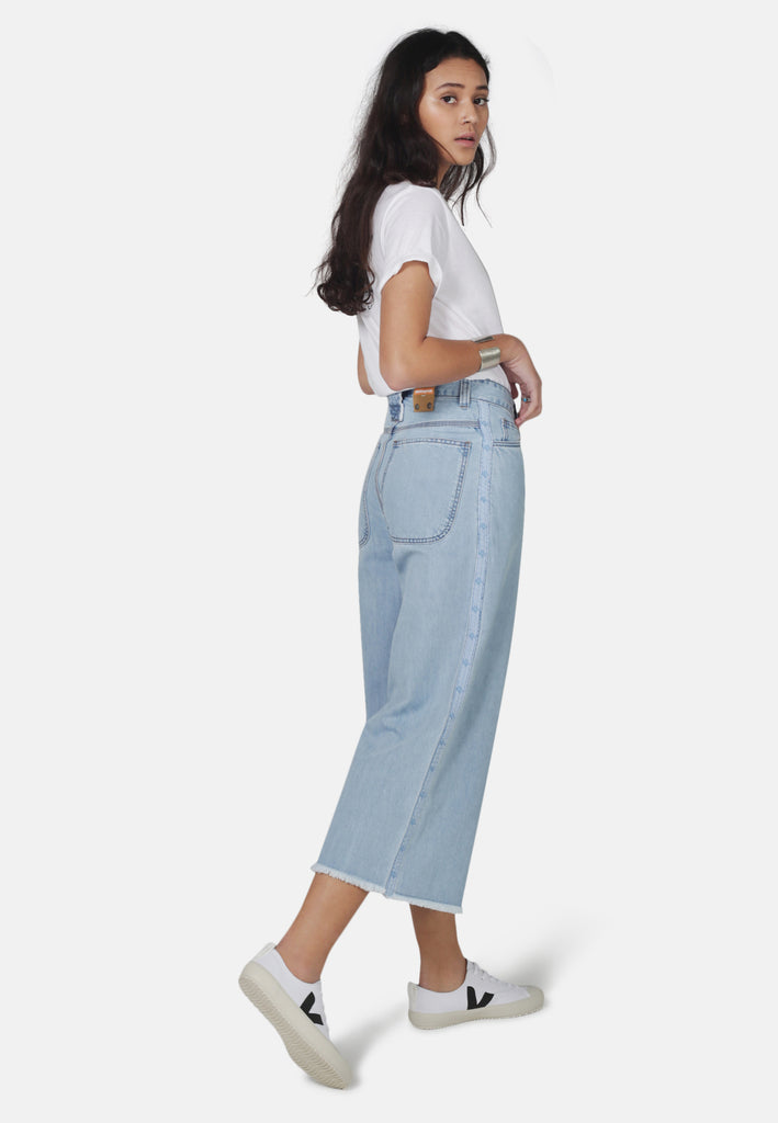 WIDE LEG // Organic Wide Cropped Leg Jeans in Light Wash Denim with Tape - Monkee Genes Organic Jeans Denim - Women's Cropped Monkee Genes Official  Monkee Genes Official