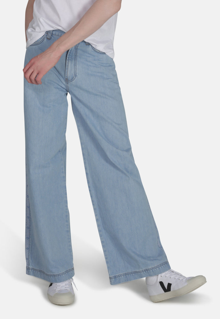 Wide Fit Jeans in Organic Light Wash Denim with Tape - Monkee Genes Organic Jeans Denim - Men's Wide Jeans Monkee Genes Official  Monkee Genes Official