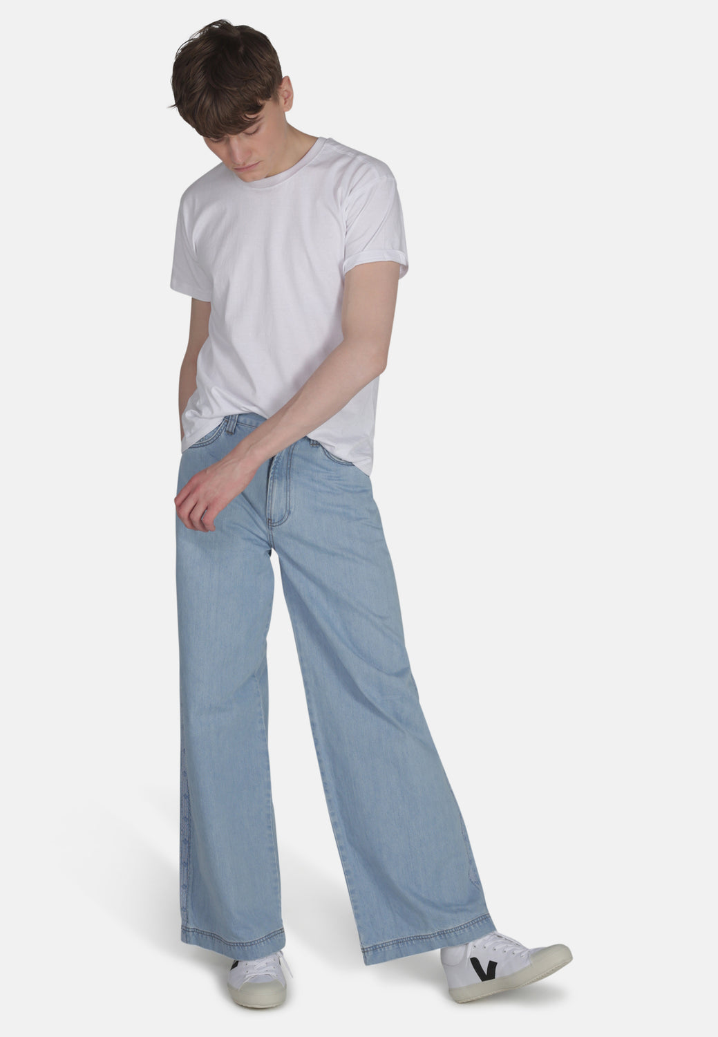 WIDE LEG // Organic Wide Leg Jeans in Light Wash with Tape - Monkee Genes Organic Jeans Denim - Men's Wide Jeans Monkee Genes Official  Monkee Genes Official