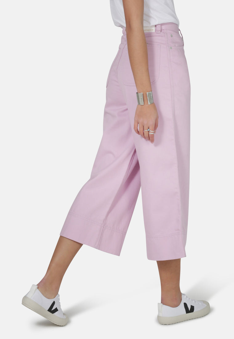 WIDE LEG // Organic Cropped Wide Leg Jeans in Pink