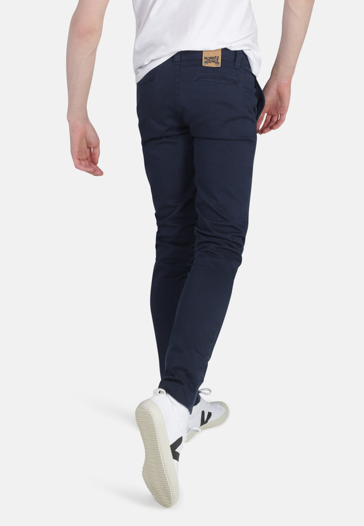 HARRY // Organic Sateen Skinny Chino in Navy - Monkee Genes Organic Jeans Denim - Men's Skinny Chinos Monkee Genes Official  Monkee Genes Official