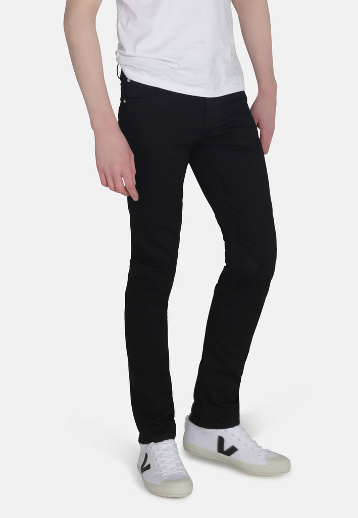 DEAN // Recycled Organic Flex Slim Fit Jeans in Jet Black - Monkee Genes Organic Jeans Denim - Organic Flex Men's Jeans Monkee Genes Official  Monkee Genes Official