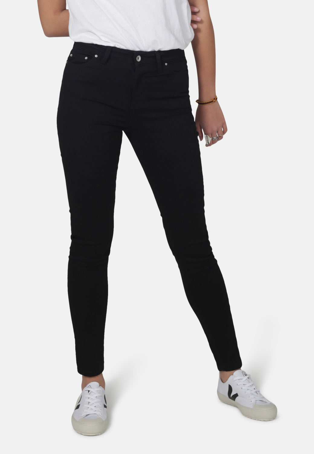 CODY // Recycled Organic Super Skinny Mid Waist Jeans in Black Jet - Monkee Genes Organic Jeans Denim - Organic Flex Women's Jeans Monkee Genes Official  Monkee Genes Official