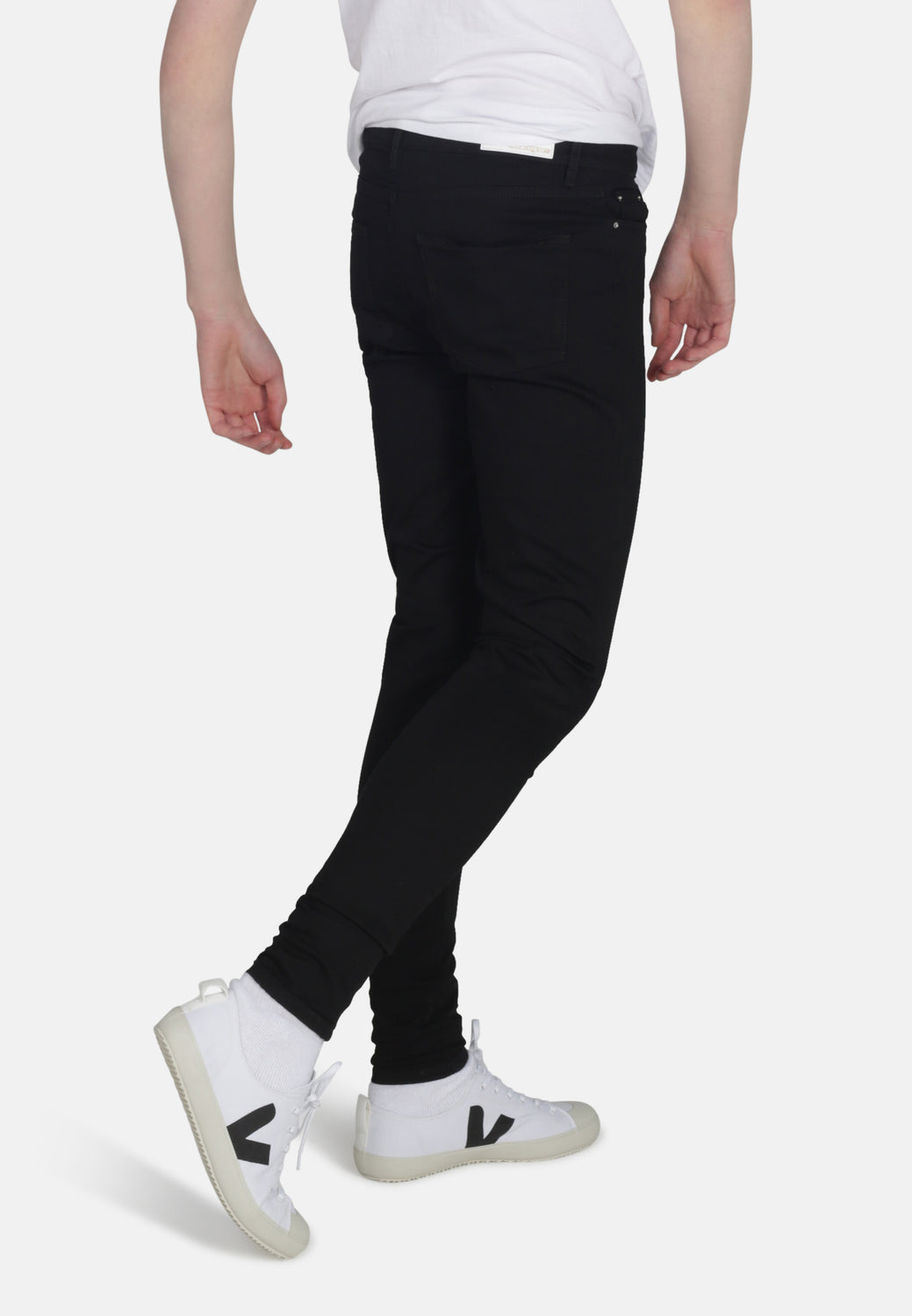 CODY // Recycled Organic Super Skinny Mid Rise Jeans in Black Jet - Monkee Genes Organic Jeans Denim - Organic Flex Men's Jeans Monkee Genes Official  Monkee Genes Official