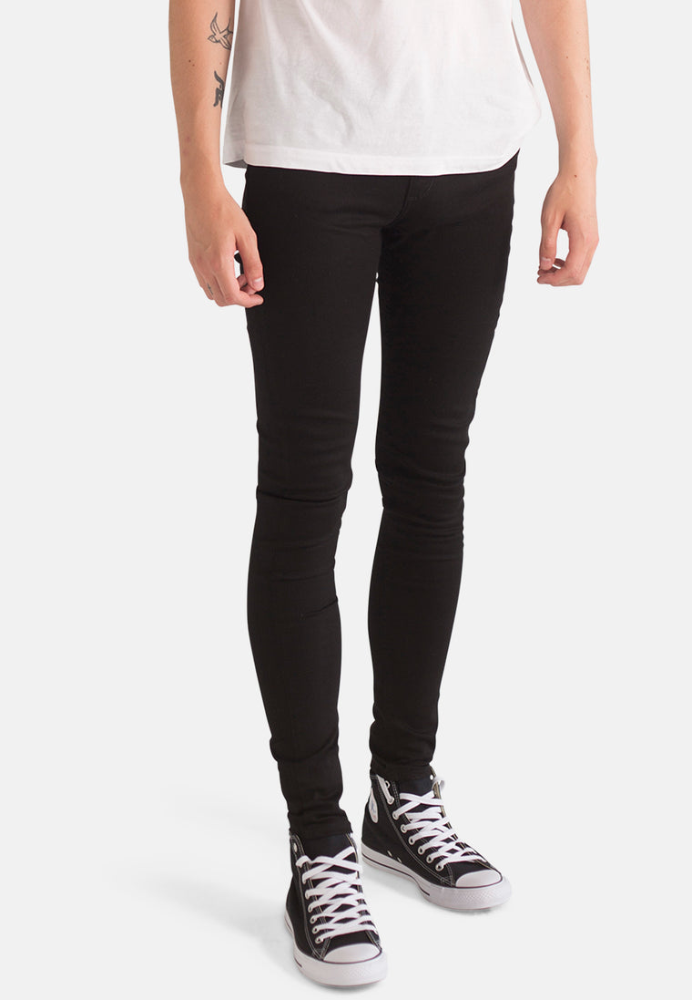 CODY // Organic Super Skinny Mid Rise Jeans in Black Denim