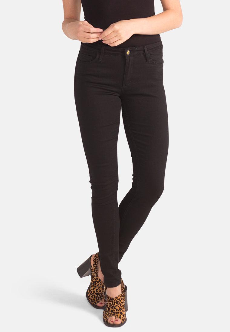 CODY // Organic Super Skinny Mid Waist Jeans in Black Denim
