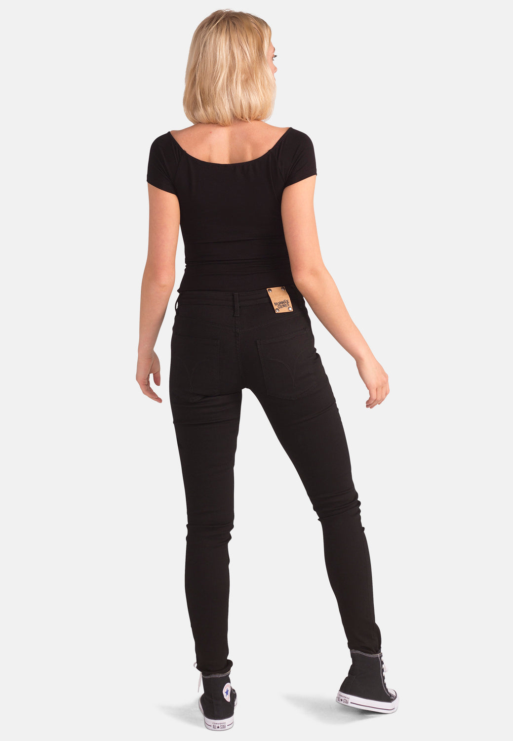 Organic Black Denim Super Skinny Jeans - Monkee Genes Organic Jeans Denim - Women's Silhouette Monkee Genes Official  Monkee Genes Official