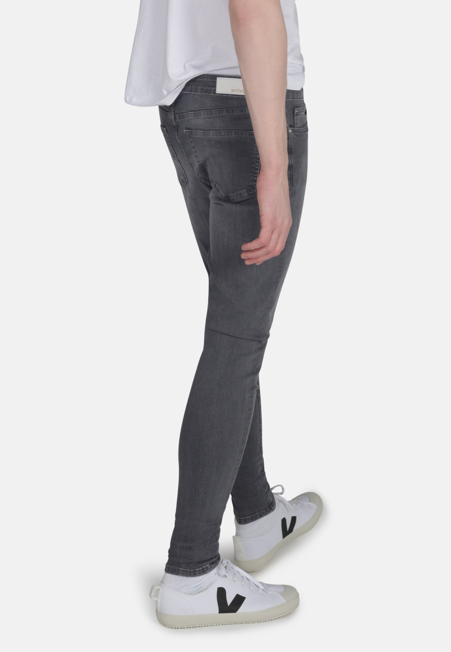 CODY // Super Skinny Mid Rise Jeans in Light Grey Eco Wash