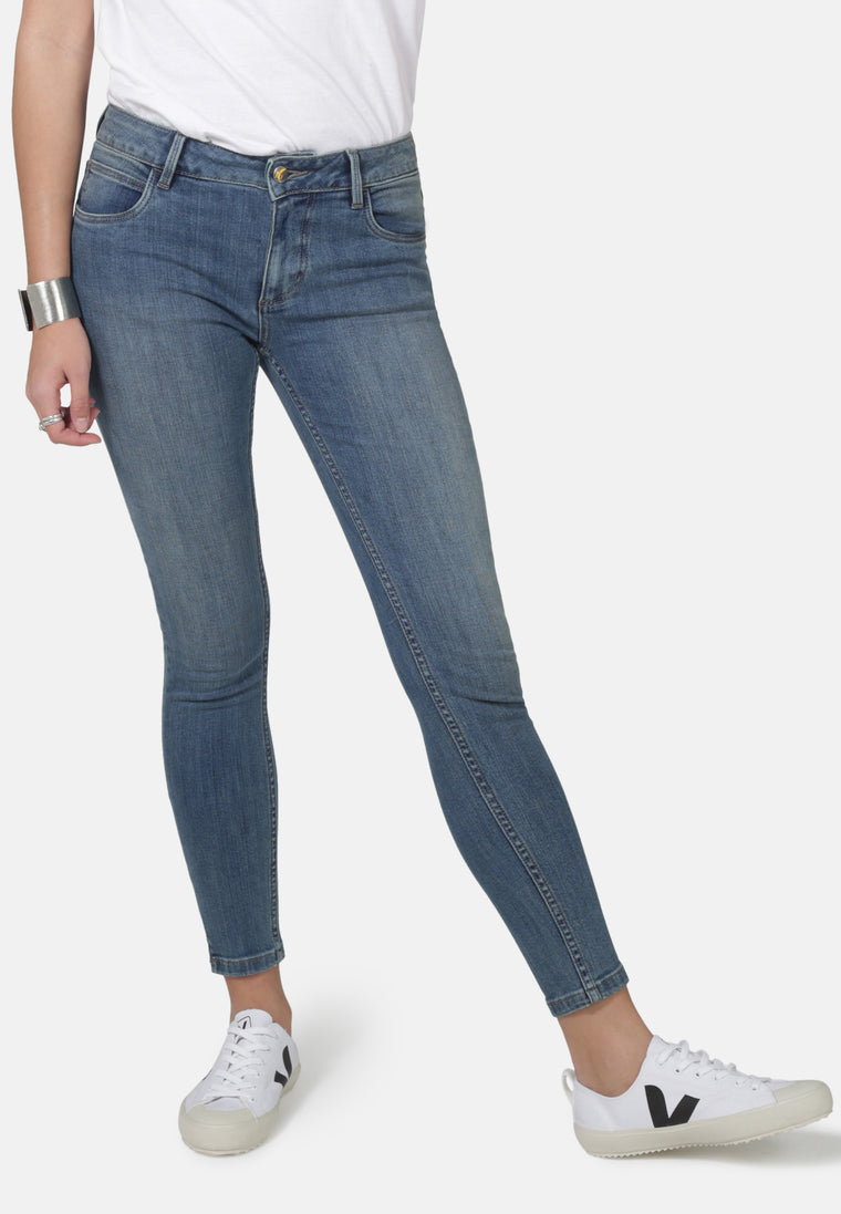 MONROE // Organic Super Skinny Ankle Grazer Jeans in Mid Wash