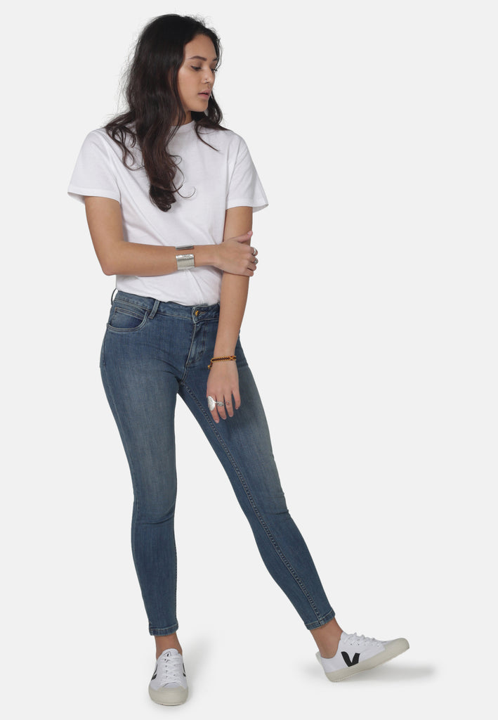 MONROE // Organic Super Skinny Ankle Grazer Jeans in Mid Wash - Monkee Genes Organic Jeans Denim - Women's Monroe Monkee Genes Official  Monkee Genes Official