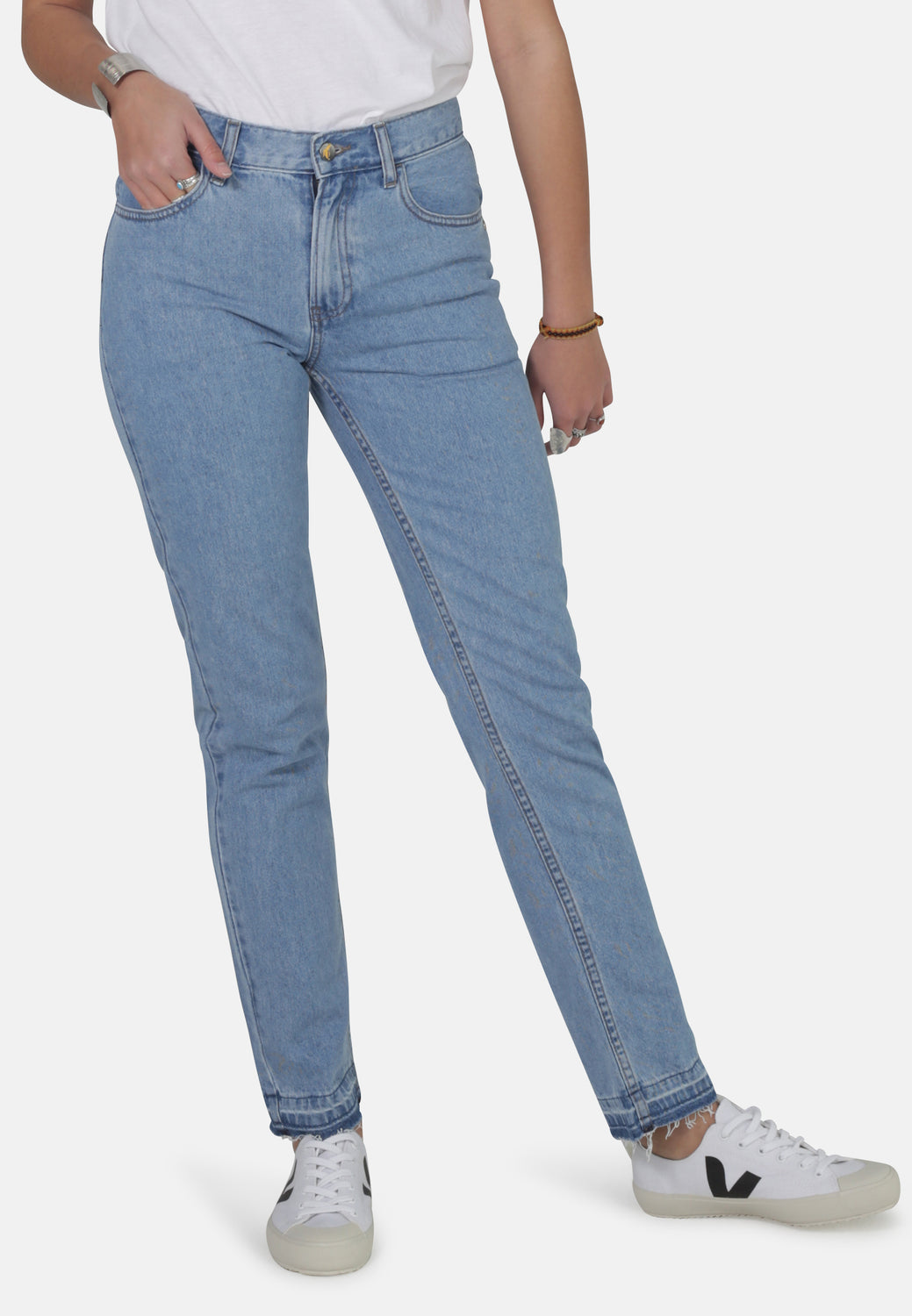 REBECCA // Organic Straight Leg Mom Jeans with Busted Hem - Monkee Genes Organic Jeans Denim - Women's Loose Fit Monkee Genes Official  Monkee Genes Official