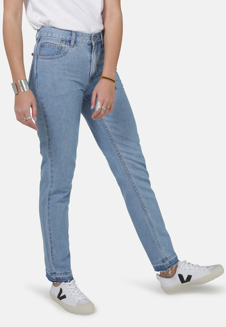 REBECCA // Organic Straight Leg Mom Jeans with Busted Hem