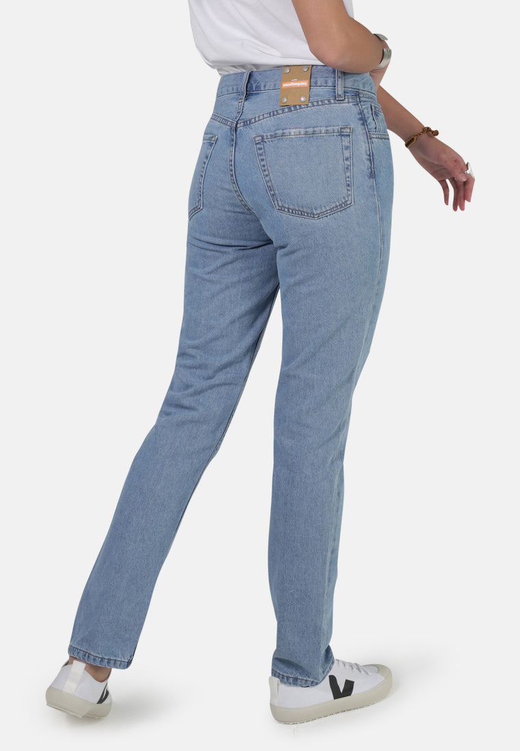 REBECCA // Organic Straight Leg Mom Jeans in Eco Wash