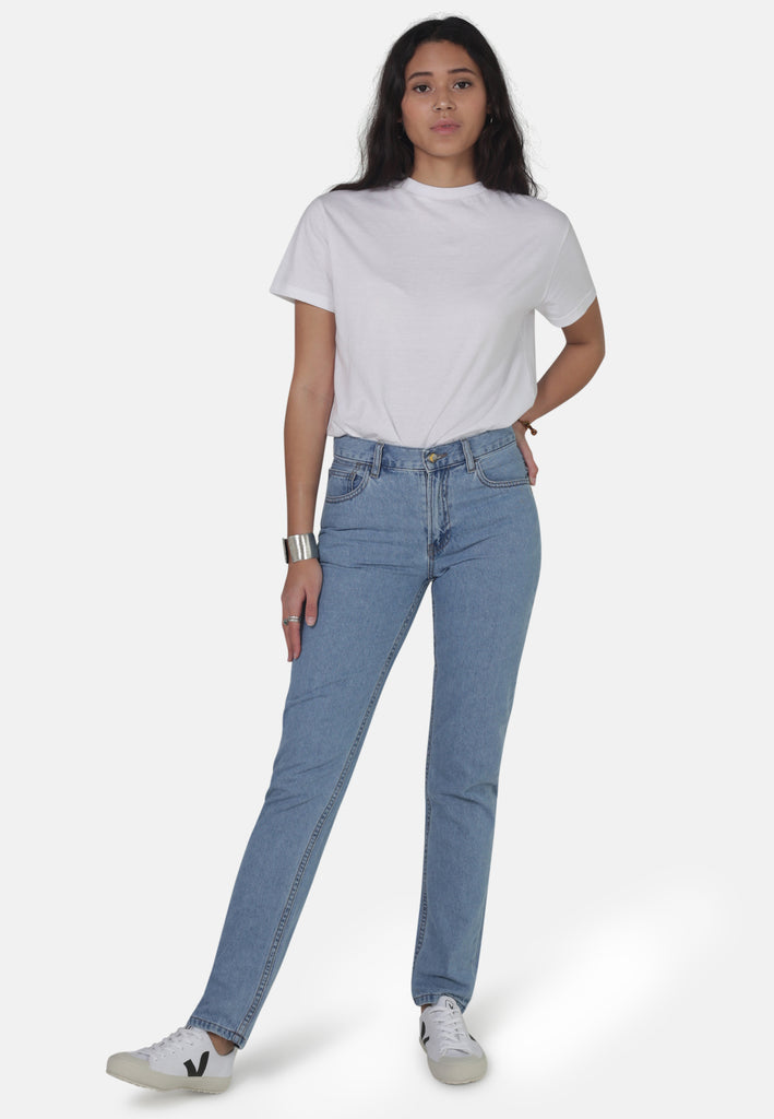 REBECCA // Organic Straight Leg Mom Jeans in Eco Wash - Monkee Genes Organic Jeans Denim - Women's Loose Fit Monkee Genes Official  Monkee Genes Official
