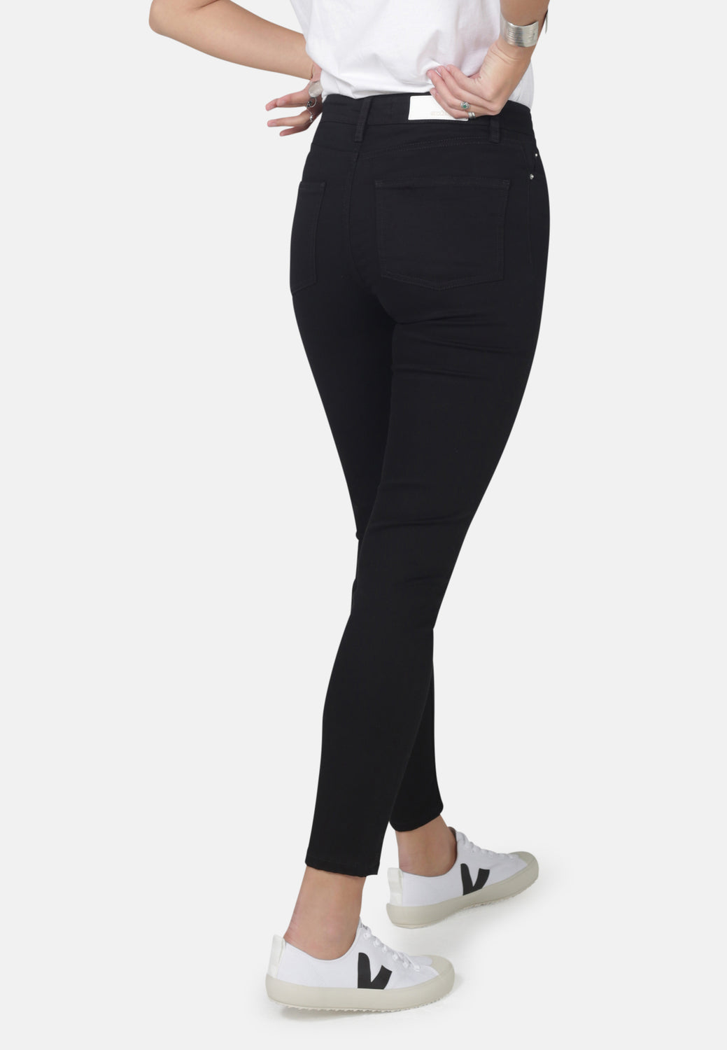JANE // Recycled Organic Flex Super Skinny High Waist Jeans in Black Jet - Monkee Genes Organic Jeans Denim - Organic Flex Women's Jeans Monkee Genes Official  Monkee Genes Official
