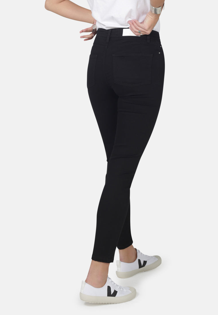 JANE // Recycled Organic Flex Super Skinny High Waist Jeans in Black Jet