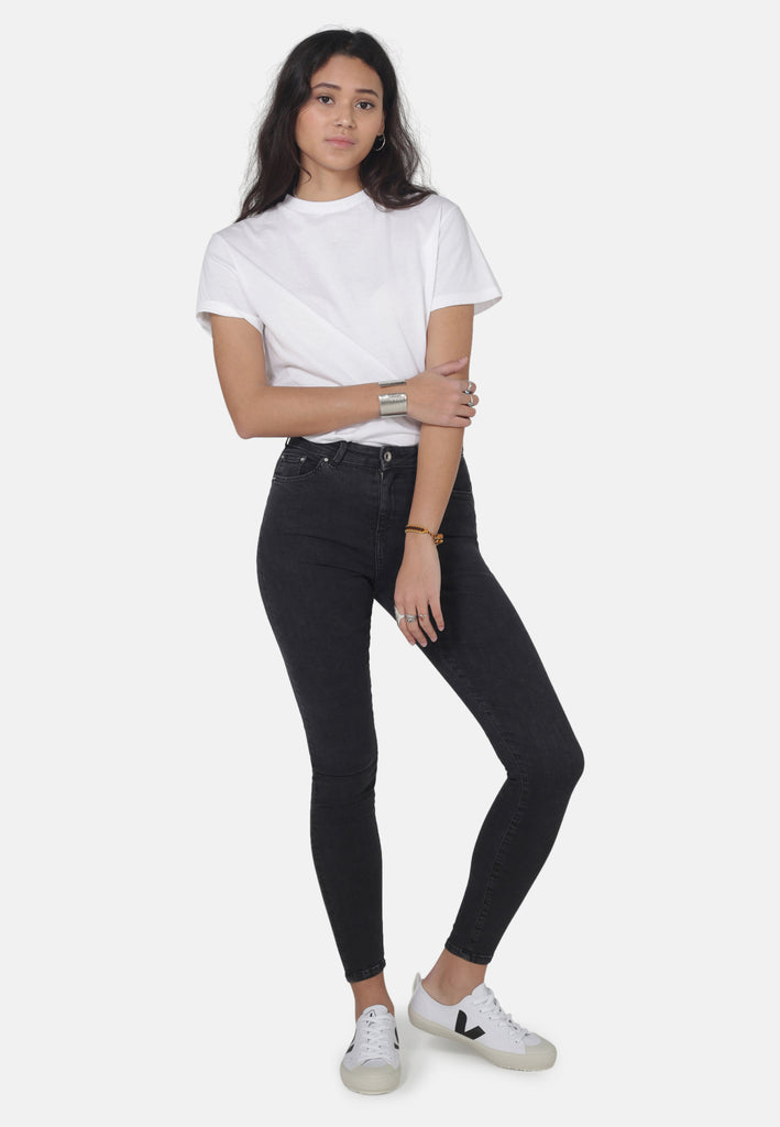 JANE // Organic Super Skinny High Waist Jeans in Dark Grey Eco Wash - Monkee Genes Organic Jeans Denim - Women's Super Skinny Monkee Genes Official  Monkee Genes Official