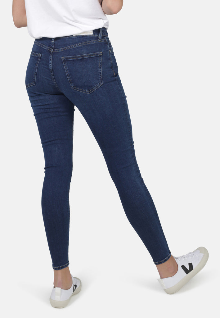 JANE // Organic Super Skinny High Waist Jeans in Dark Blue Eco Wash - Monkee Genes Organic Jeans Denim - Women's Super Skinny Monkee Genes Official  Monkee Genes Official