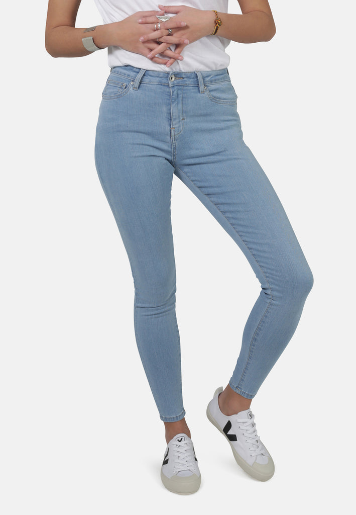 Light Blue Eco Wash Jane High Waisted Super Skinny Organic Jeans - Monkee Genes Organic Jeans Denim - Women's Super Skinny Monkee Genes Official  Monkee Genes Official