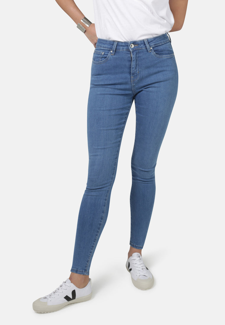 Mid Blue Eco Wash Jane High Waisted Super Skinny Organic Jeans