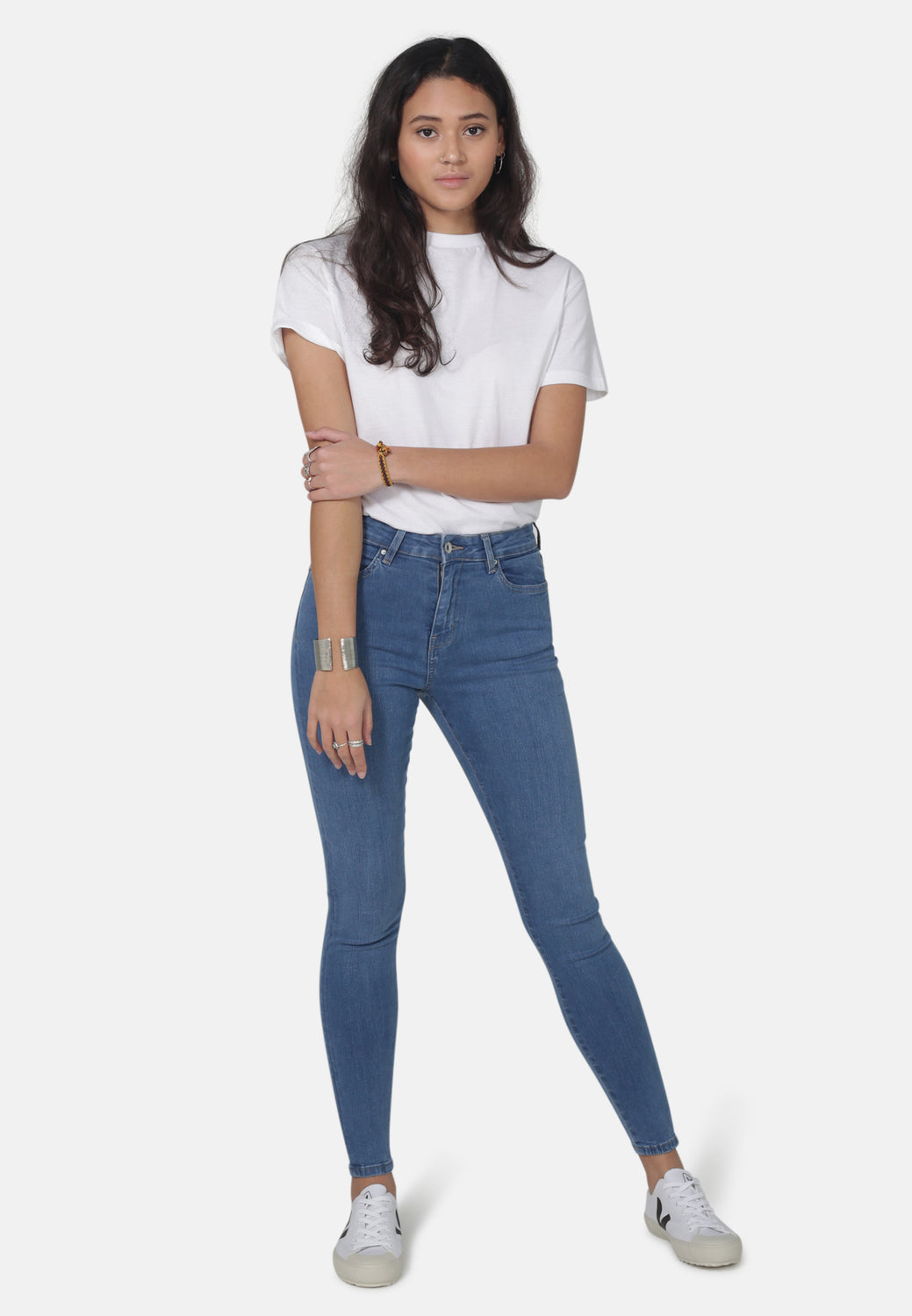 JANE // Organic Super Skinny High Waist Jeans in Mid Blue Eco Wash - Monkee Genes Organic Jeans Denim - Women's Super Skinny Monkee Genes Official  Monkee Genes Official