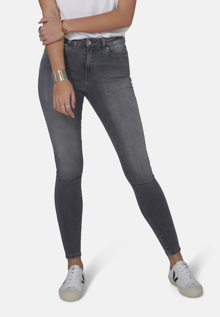 JANE // Organic Super Skinny High Waist Jeans in Light Grey Eco Wash