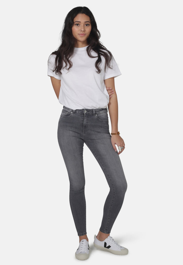 Light Grey Eco Wash Jane High Waisted Super Skinny Organic Jeans - Monkee Genes Organic Jeans Denim - Women's Super Skinny Monkee Genes Official  Monkee Genes Official