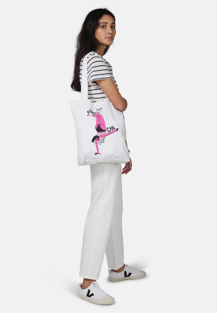Organic Cotton Girls Can Artist Collaboration Bag for Life - Monkee Genes Organic Jeans Denim - Women's T-Shirts Monkee Genes Official  Monkee Genes Official