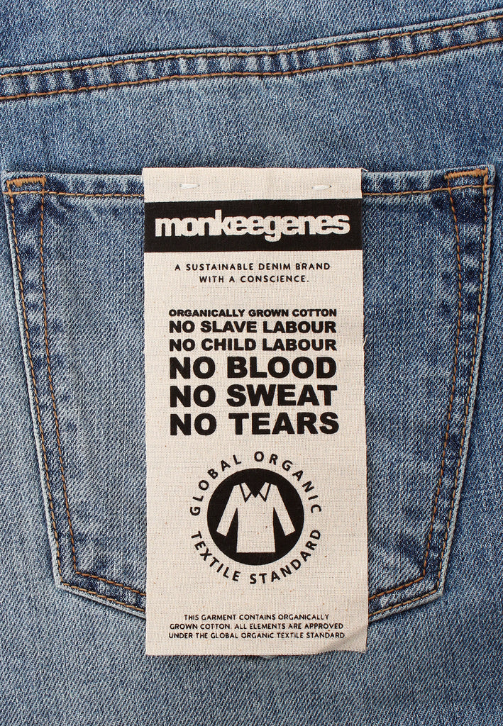 Jack Tapered Fit Organic Jeans in Light Wash - Monkee Genes, Organic Jeans, Eco Jeans, Sustainable Jeans, Green Jeans, Ethical Fashion, Mens Chinos