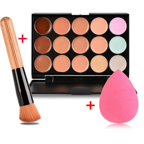 Concealer 15 Color Makeup Palette +Wooden Handle Brush +Puff Face Foundation