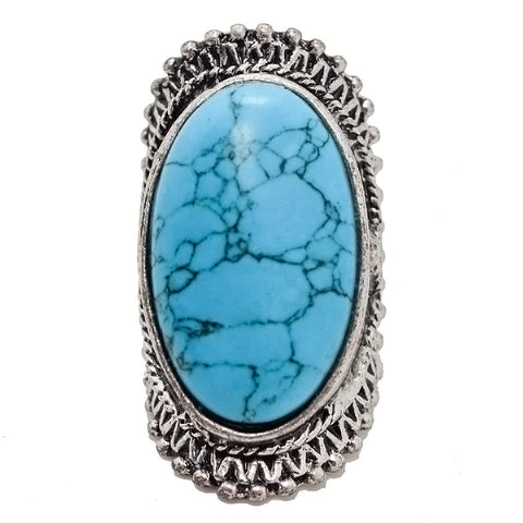 2018 New Arrival Trendy Boho Antique Silver Plated Crack Natural Stone Big Rings - BOUTIQUEKOM