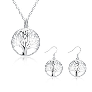 Silver Tree Life jewelry set necklace earring Valentines gift charms