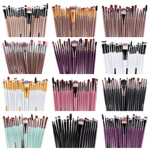 15/20Pcs Eye Shadow Foundation Eyebrow Eyelash Lip Brush Makeup Brushes