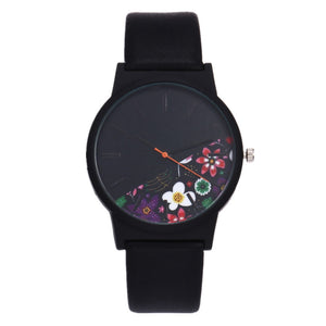 New Vintage Leather Women Watches 2018 Luxury Top Brand Floral Pattern