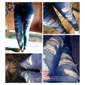 Celebrity Style Fashion Blue Low Rise Skinny Distressed Washed Stretch Denim Jeans - BOUTIQUEKOM