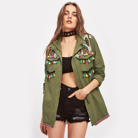 Green Lapel Embroidered Tassel and Pom-Pom Trim Utility Jacket - BOUTIQUEKOM