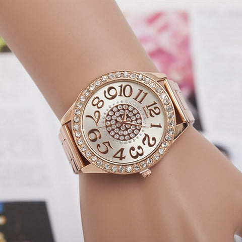 2018 Fashion Women Stainless Steel Rhinestone Quartz Wrist Watch - BOUTIQUEKOM
