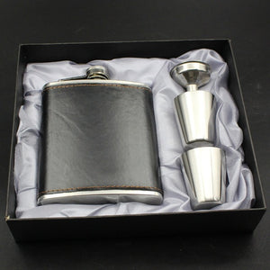 Gift For Men 1 Set  7 Oz Black Stainless Steel Hip Flask  Leather Wrapped With 1 Funnel 2 Cups