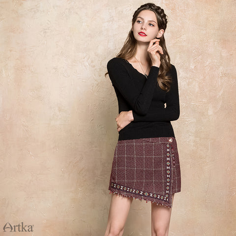 2018 Asymmetrical Embroidery Skirt Female Vintage - BOUTIQUEKOM