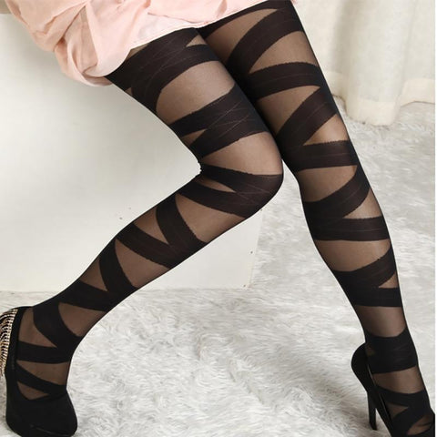 NEW Women Pantyhose Black Ripped Stretch Rock and roll Legging