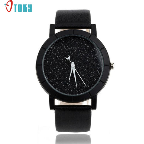 Starry Watch Women Sequins Moon Clock Hands Faux Leather