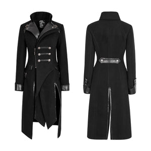 punk patch work woolen with PU leather stitching women long black coats - BOUTIQUEKOM