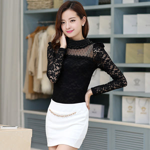 New fashion Women's Stand Pearl Collar Lace Crochet Blouses