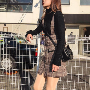 Plaid Woolen Skirt Female High Waist Patchwork Pocket Mini Suspenders Skirts
