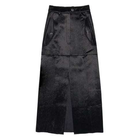 Suede Skirt Female Split High Waist Patchwork Long Skirts - BOUTIQUEKOM