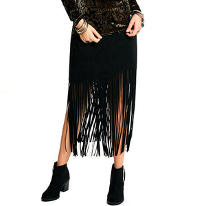 Bohemian Tassel Bodycon Skirt Mid Calf Black Skirt - BOUTIQUEKOM